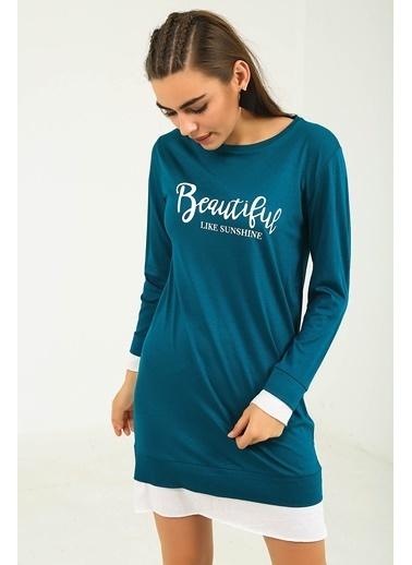 Emjey Beautiful Baskılı Eteği Garnili Swaet Elbise İndigo